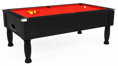 7ft Monarch Free Play in Black with Hainsworth Smart Orange cloth