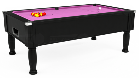 7ft Monarch Free Play in Black with Hainsworth Smart Pink cloth