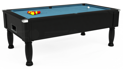 7ft Monarch Free Play in Black with Hainsworth Smart Powder Blue cloth