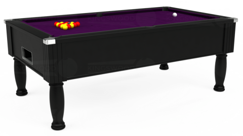 7ft Monarch Free Play in Black with Hainsworth Smart Purple cloth