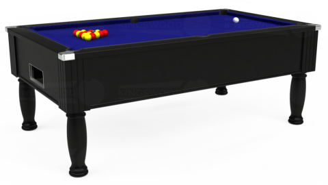 7ft Monarch Free Play in Black with Hainsworth Smart Royal Blue cloth