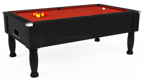 7ft Monarch Free Play in Black with Hainsworth Smart Windsor Red cloth