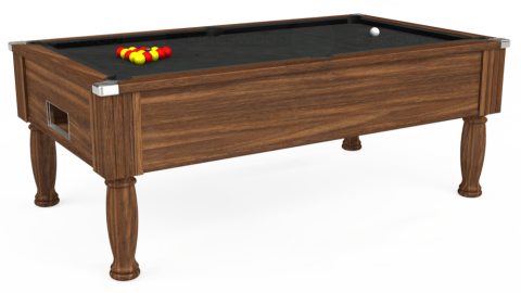 7ft Monarch Free Play in Dark Walnut with Standard Black cloth