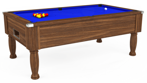 7ft Monarch Free Play in Dark Walnut with Standard Blue cloth