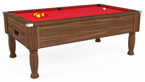 7ft Monarch Free Play in Dark Walnut with Standard Red cloth