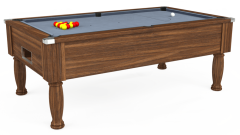 6ft Monarch Free Play in Dark Walnut with Hainsworth Elite-Pro Bankers Grey cloth
