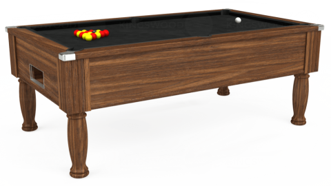 6ft Monarch Free Play in Dark Walnut with Hainsworth Elite-Pro Black cloth