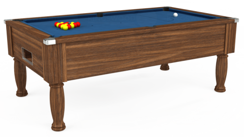 7ft Monarch Free Play in Dark Walnut with Hainsworth Elite-Pro Cadet Blue cloth
