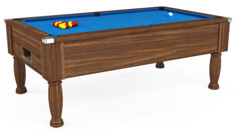 7ft Monarch Free Play in Dark Walnut with Hainsworth Elite-Pro Electric Blue cloth