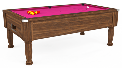 7ft Monarch Free Play in Dark Walnut with Hainsworth Elite-Pro Fuchsia cloth