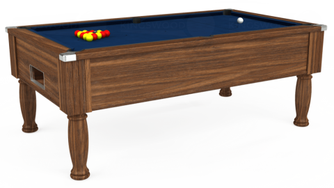 7ft Monarch Free Play in Dark Walnut with Hainsworth Elite-Pro Marine Blue cloth