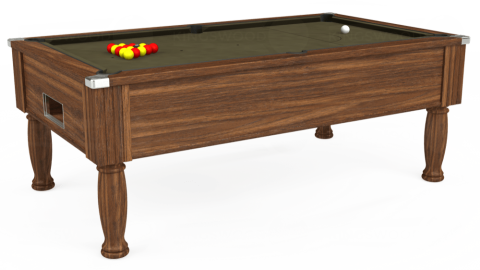 7ft Monarch Free Play in Dark Walnut with Hainsworth Elite-Pro Olive cloth