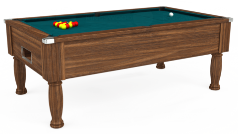 7ft Monarch Free Play in Dark Walnut with Hainsworth Elite-Pro Petrol Blue cloth