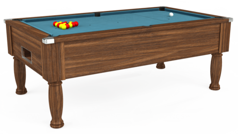 7ft Monarch Free Play in Dark Walnut with Hainsworth Elite-Pro Powder Blue cloth