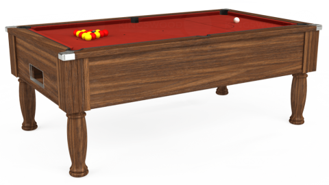 7ft Monarch Free Play in Dark Walnut with Hainsworth Elite-Pro Red cloth