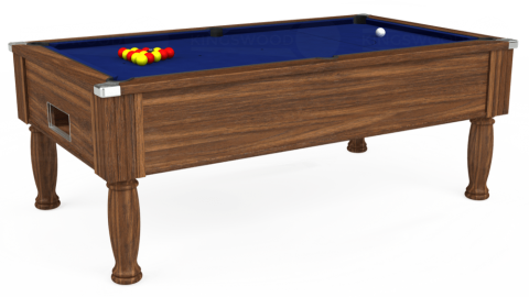 6ft Monarch Free Play in Dark Walnut with Hainsworth Elite-Pro Royal Blue cloth