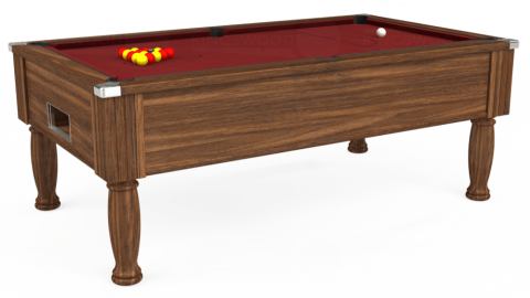 7ft Monarch Free Play in Dark Walnut with Hainsworth Smart Maroon cloth