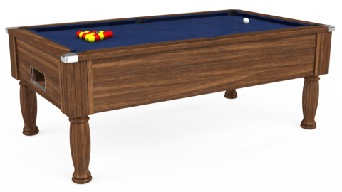 7ft Monarch Free Play in Dark Walnut with Hainsworth Smart Navy cloth