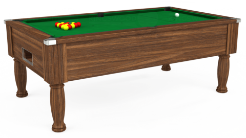 7ft Monarch Free Play in Dark Walnut with Hainsworth Smart Olive cloth