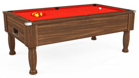 7ft Monarch Free Play in Dark Walnut with Hainsworth Smart Orange cloth