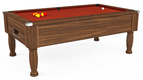 7ft Monarch Free Play in Dark Walnut with Hainsworth Smart Paprika cloth