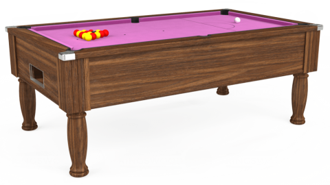 7ft Monarch Free Play in Dark Walnut with Hainsworth Smart Pink cloth