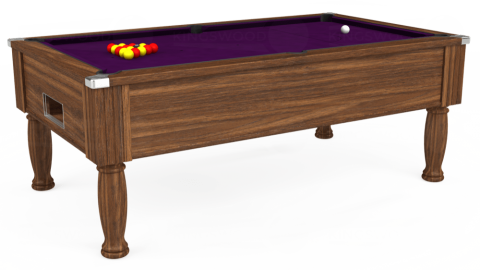 6ft Monarch Free Play in Dark Walnut with Hainsworth Smart Purple cloth