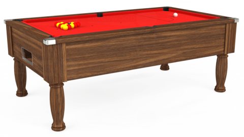 7ft Monarch Free Play in Dark Walnut with Hainsworth Smart Red cloth