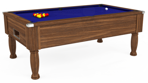 7ft Monarch Free Play in Dark Walnut with Hainsworth Smart Royal Blue cloth