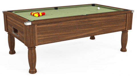 7ft Monarch Free Play in Dark Walnut with Hainsworth Smart Sage cloth