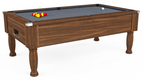 7ft Monarch Free Play in Dark Walnut with Hainsworth Smart Silver cloth