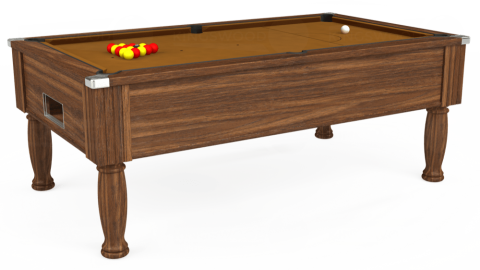 7ft Monarch Free Play in Dark Walnut with Hainsworth Smart Tan cloth
