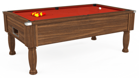 6ft Monarch Free Play in Dark Walnut with Hainsworth Smart Windsor Red cloth
