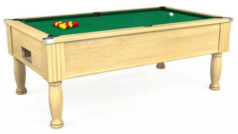 7ft Monarch Free Play in Light Oak with Hainsworth Elite-Pro American Green cloth