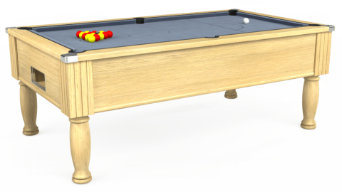 6ft Monarch Free Play in Light Oak with Hainsworth Elite-Pro Bankers Grey cloth