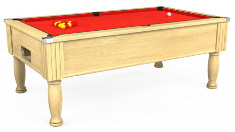 7ft Monarch Free Play in Light Oak with Hainsworth Elite-Pro Bright Red cloth