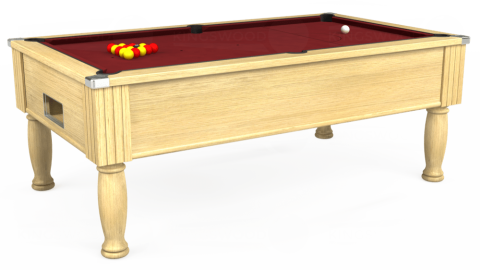 6ft Monarch Free Play in Light Oak with Hainsworth Elite-Pro Burgundy cloth