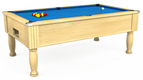 7ft Monarch Free Play in Light Oak with Hainsworth Elite-Pro Electric Blue cloth