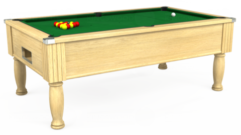 7ft Monarch Free Play in Light Oak with Hainsworth Elite-Pro English Green cloth
