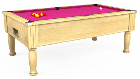 7ft Monarch Free Play in Light Oak with Hainsworth Elite-Pro Fuchsia cloth