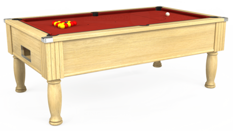 7ft Monarch Free Play in Light Oak with Hainsworth Elite-Pro Red cloth