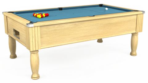7ft Monarch Free Play in Light Oak with Hainsworth Smart Powder Blue cloth