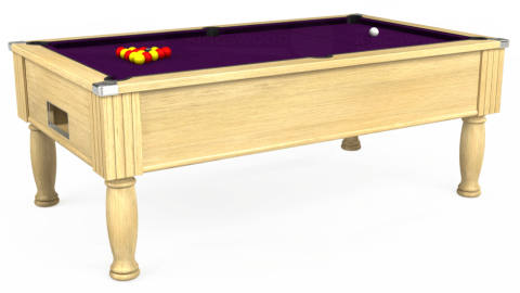 7ft Monarch Free Play in Light Oak with Hainsworth Smart Purple cloth