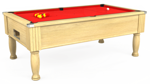 7ft Monarch Free Play in Light Oak with Hainsworth Smart Red cloth