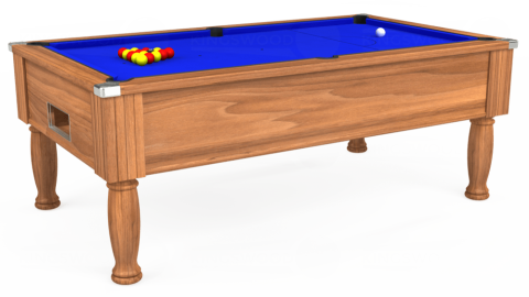 7ft Monarch Free Play in Light Walnut with Standard Blue cloth