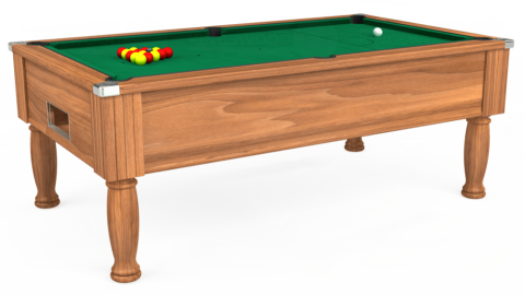 7ft Monarch Free Play in Light Walnut with Hainsworth Elite-Pro American Green cloth