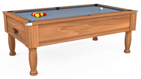 6ft Monarch Free Play in Light Walnut with Hainsworth Elite-Pro Bankers Grey cloth