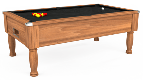 7ft Monarch Free Play in Light Walnut with Hainsworth Elite-Pro Black cloth