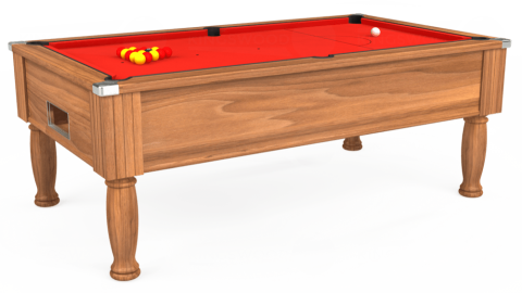 7ft Monarch Free Play in Light Walnut with Hainsworth Elite-Pro Bright Red cloth