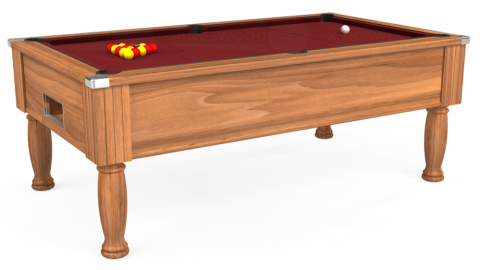 7ft Monarch Free Play in Light Walnut with Hainsworth Elite-Pro Burgundy cloth